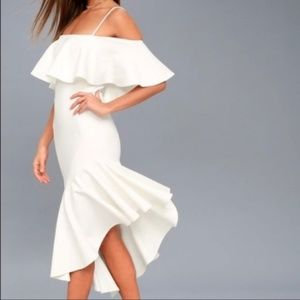 Lulus Here I Glam ruffle off shoulder dress